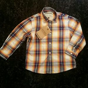 New Mayoral boys shirt orange / blue plaid button